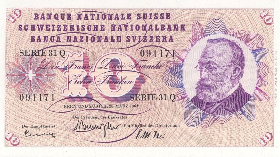 Fifth banknote series, 1956, 10 franc note, front