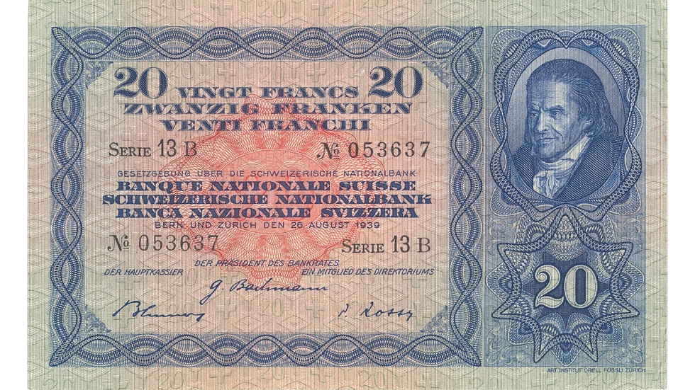 Third banknote series, 1918, 20 franc note, front