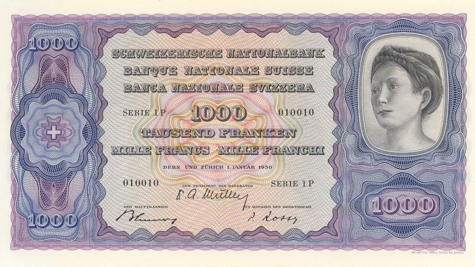 Fourth banknote series, 1938, 1000 franc note, front
