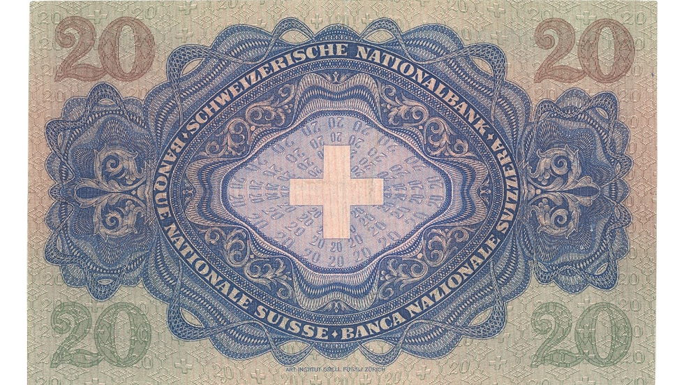 Third banknote series, 1918, 20 franc note, back