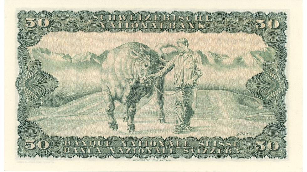 Fourth banknote series, 1938, 50 franc note, back