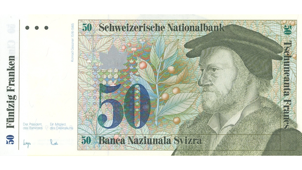 Seventh banknote series, 1984, 50 franc note, front