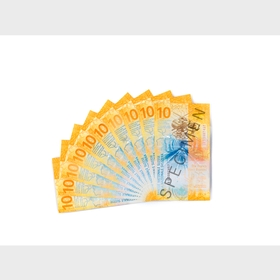 Fan of 10-franc notes (back view)