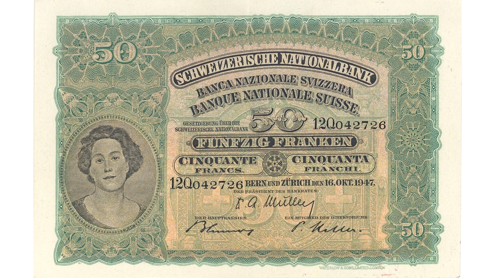 Second banknote series, 1911, 50 franc note, front