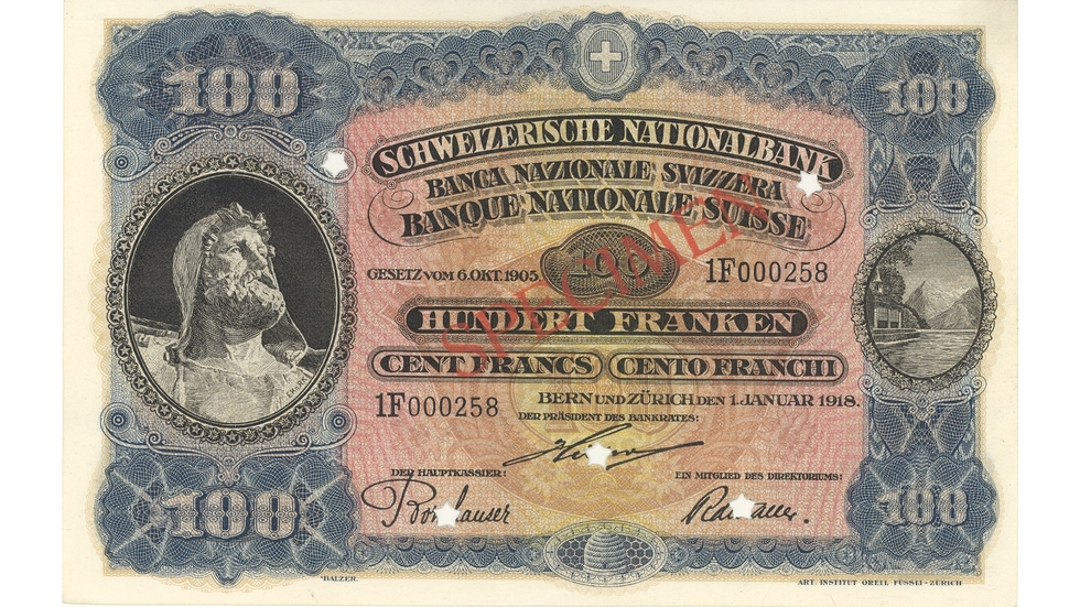 Third banknote series, 1918, 100 franc note, front