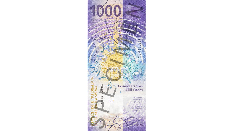 1000-franc note Specimen (back)