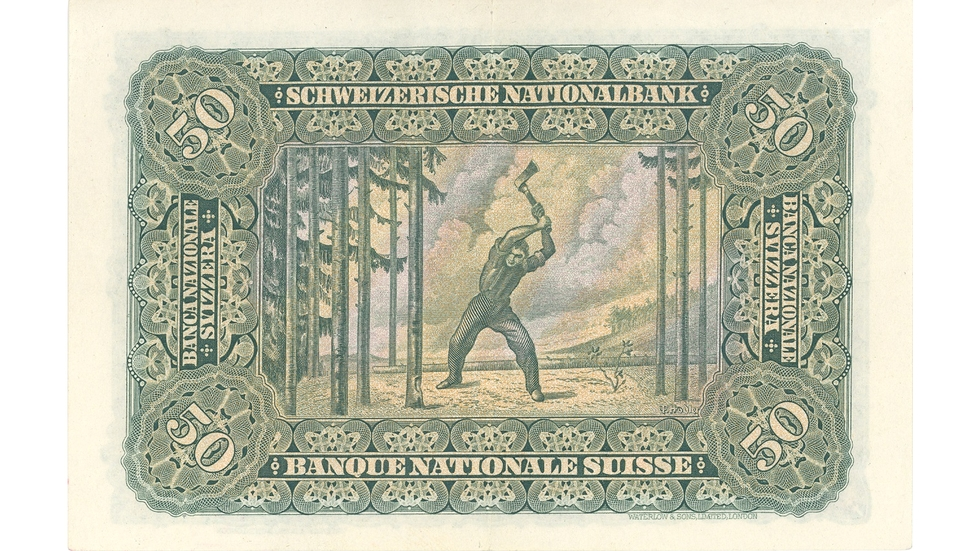 Second banknote series, 1911, 50 franc note, back