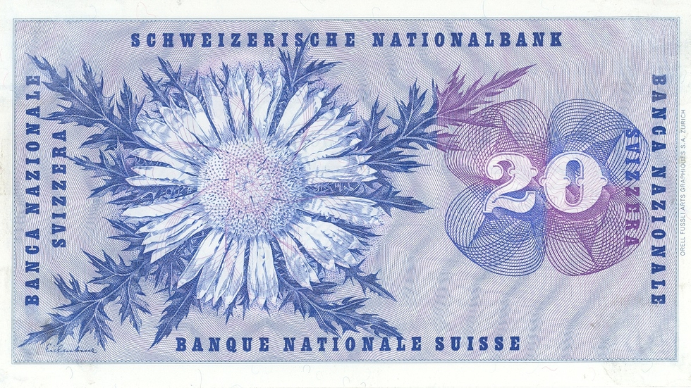Fifth banknote series, 1956, 20 franc note, back