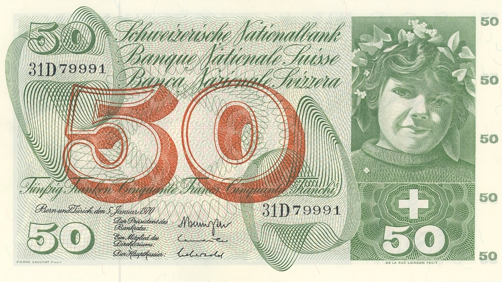 Fifth banknote series, 1956, 50 franc note, front