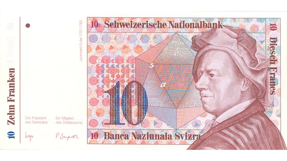Seventh banknote series, 1984, 10 franc note, front