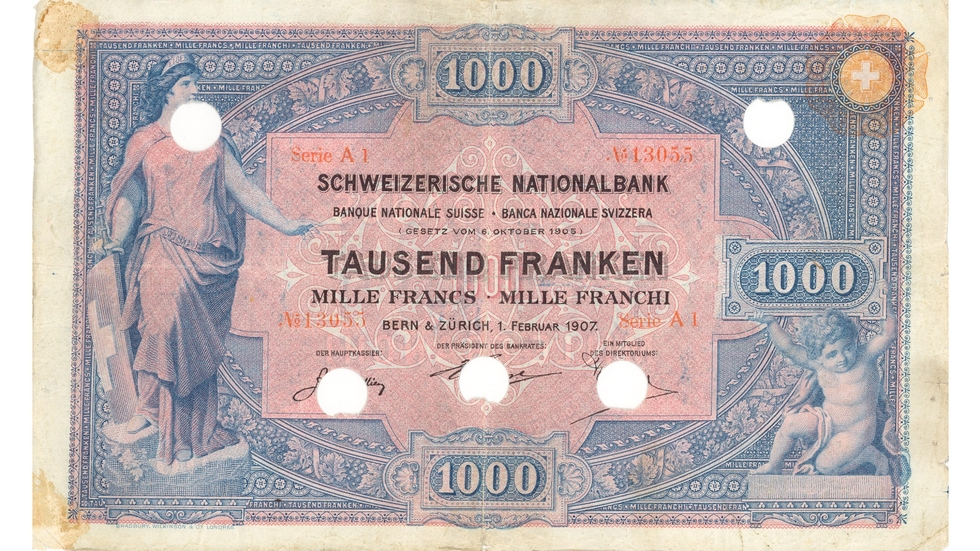 First banknote series, 1907, 1000 franc note, front