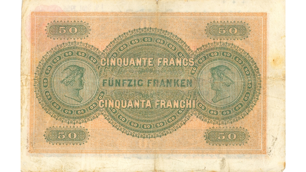 First banknote series, 1907, 50 franc note, back