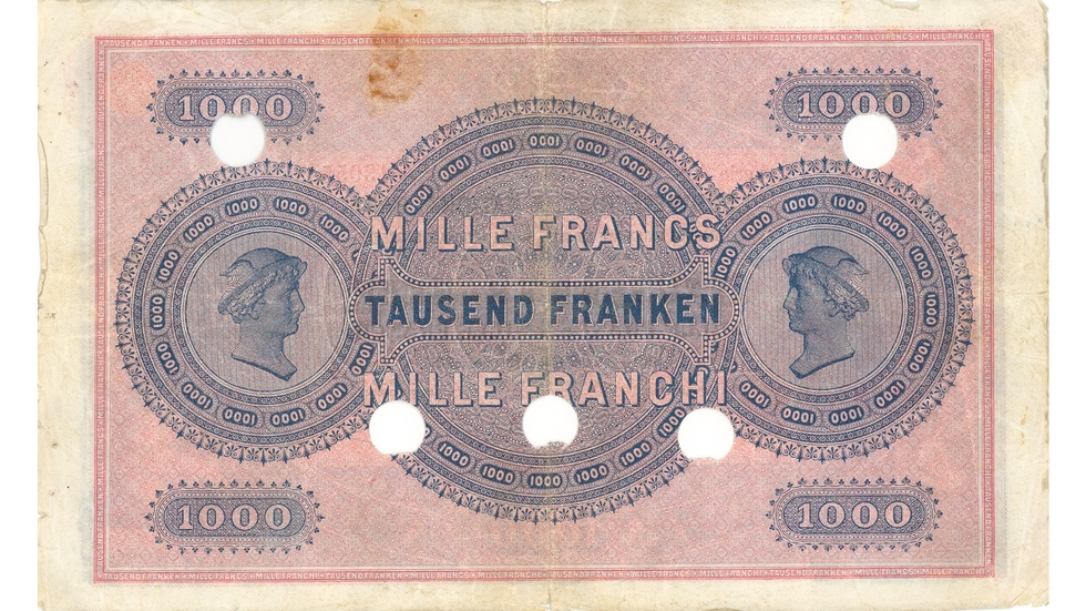 First banknote series, 1907, 1000 franc note, back