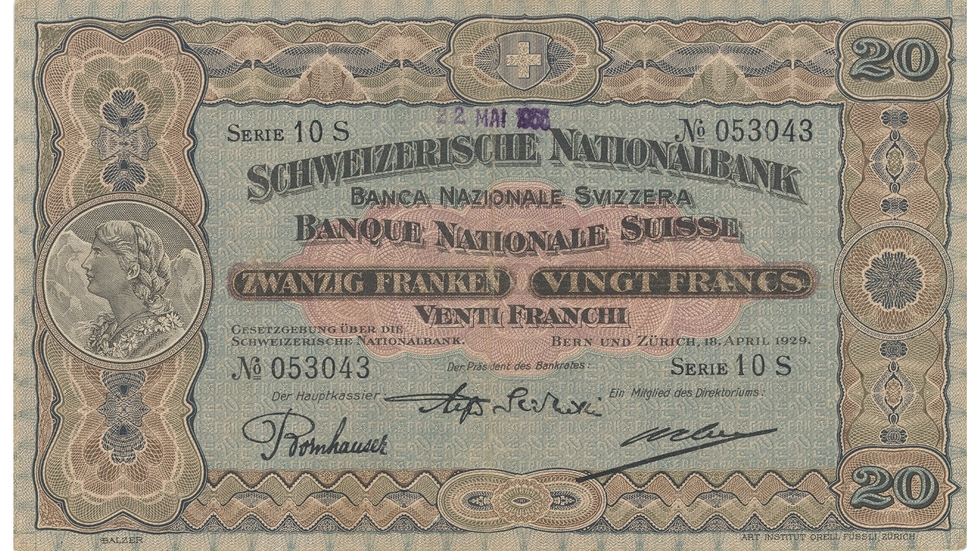 Second banknote series, 1911, 20 franc note, front