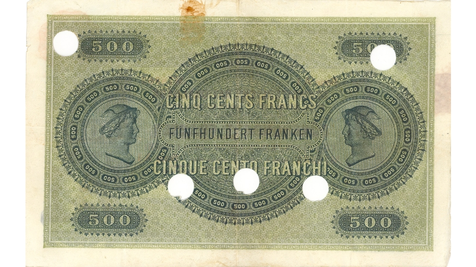 First banknote series, 1907, 500 franc note, back