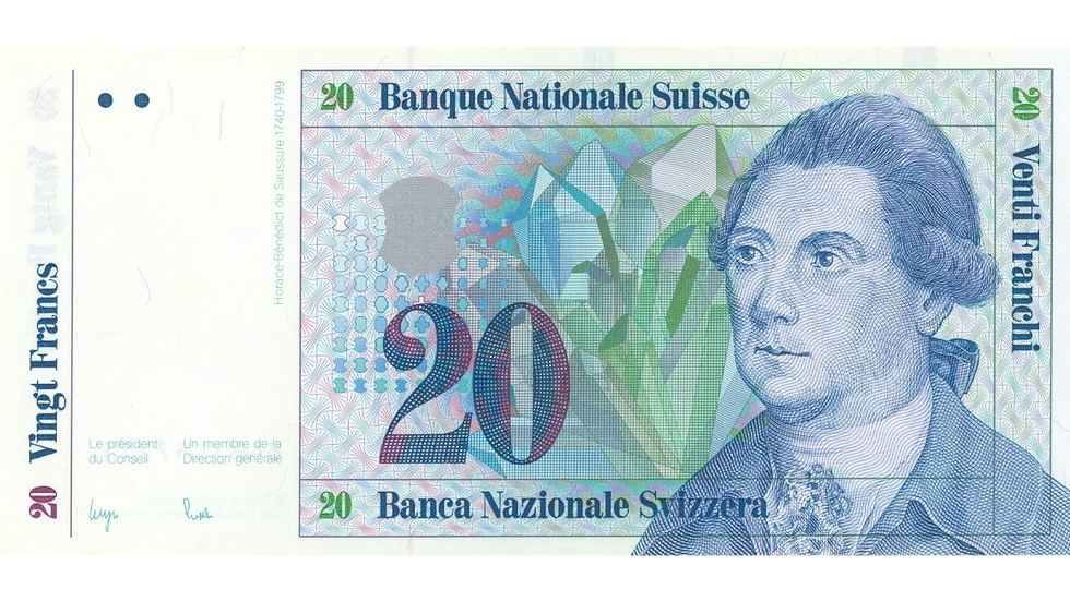 Seventh banknote series, 1984, 20 franc note, front