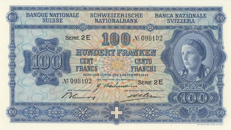 Fourth banknote series, 1938, 100 franc note, front