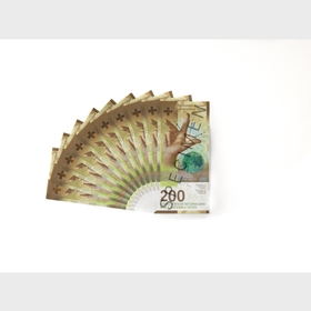 Fan of 200-franc notes (front view)