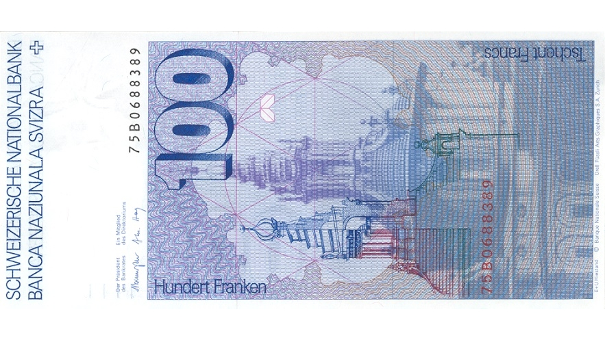 Sixth banknote series, 1976, 100 franc note, back
