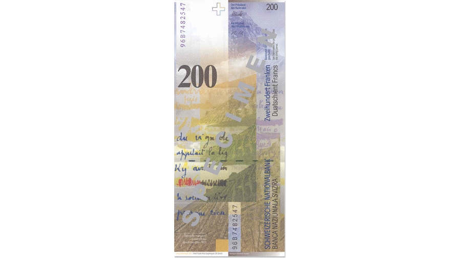 Eighth banknote series, 1995, 200 franc note, back